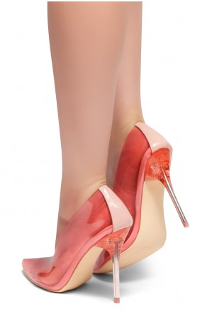 HerStyle LOVE ME TRUE- Perspex Pointed Toe, Clear Stiletto Heel Pumps (Pink)