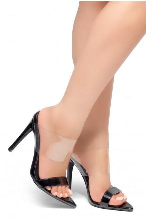 HerStyle Ilka - Pointed Toe Open Back Stiletto Heel, Perspex Vamp slipper (Black)