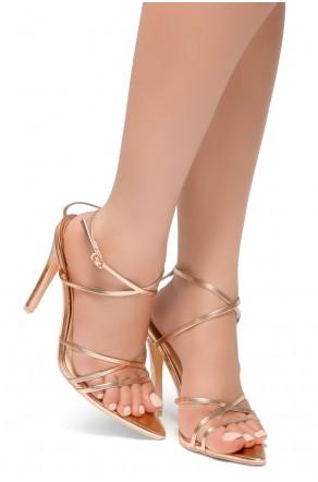 HerStyle Twist-Pointed Toe Straps Vamp Straps across Ankle Stiletto Heel Sandal (RoseGold)