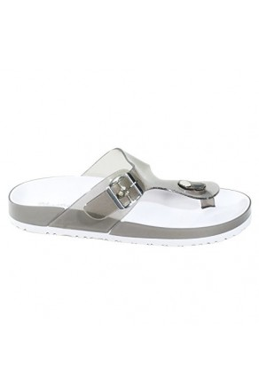 Women's Black Manmade Baude Flat Jelly Sandal with Brilliant Buckle Accent
