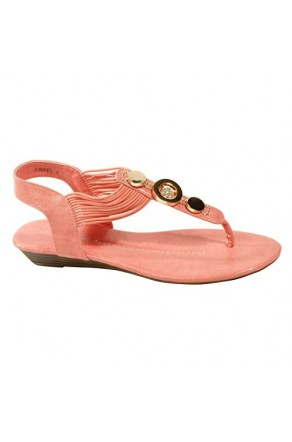Women's Coral Manmade Junniee T-Strap Thong with Gorgeous Shining Vamp