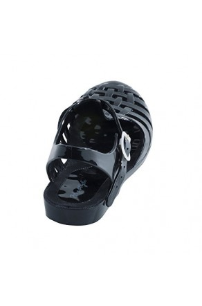 Women's Black Manmade Atia Roman Influenced Jelly Sandal with Strappy Front