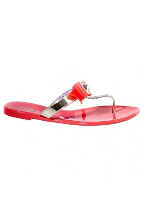 Women's Coral Craze Manmade Flat Jelly Sandal with Glowing Bow Accent