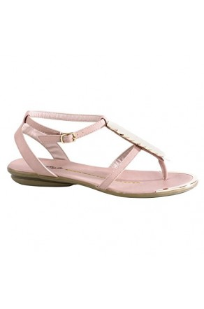 Women's Mauve Bazooka Thong Sandal with Gold Toned T-Strap