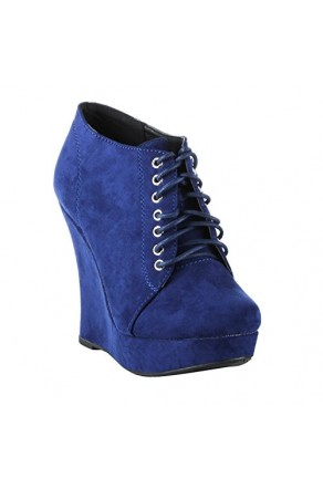 Women's Navy Krisella Stylish Manmade Wedge Bootie with Lace-Up Front