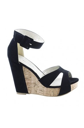 Women's Black Nadiya Manmade Wedge Sandal with Stylish Toe Straps