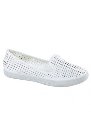 Women's White Inkaa Manmade Flats with Jeweled Mesh Upper