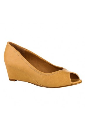 Women's Beige Gracellyn Manmade Low Wedge Peep-Toe Pump