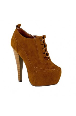 Women's Cognac Anteek Lace-Up 5.5-inch Vintage-Inspired Platform Pump