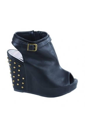 Women's Black Jamily Manmade Buckled Wedge Heel with Studded Back