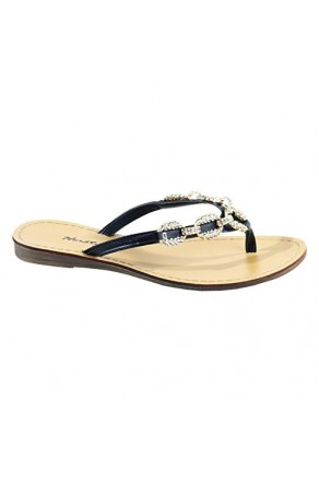 Women's Black Janiesa Manmade Flat Thong Sandal with Glowing Jeweled Chain