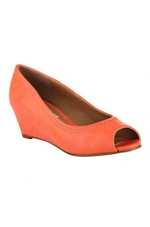 Women's Coral Gracellyn Manmade Low Wedge Peep-Toe Pump