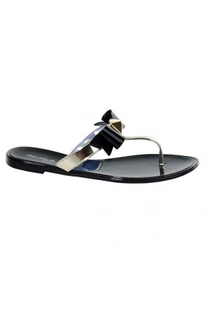 Women's Black Craze Manmade Flat Jelly Sandal with Glowing Bow Accent