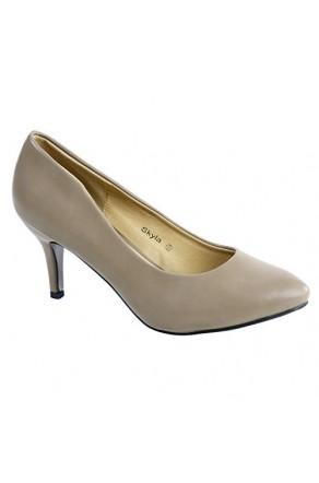 Women's Khaki Skylay Manmade Sleek Pointed-Toe Pump Heel