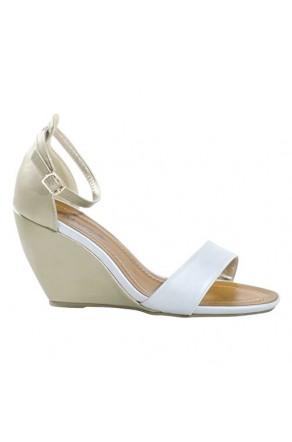 Women's GoldSilver Manmade Sneliee 3.5-inch Sleek Wedge Sandal