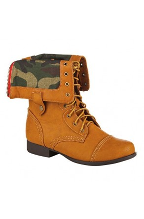 Women's Cognac Sapata Manmade Combat Boot with Fold-Over Camouflage Lining