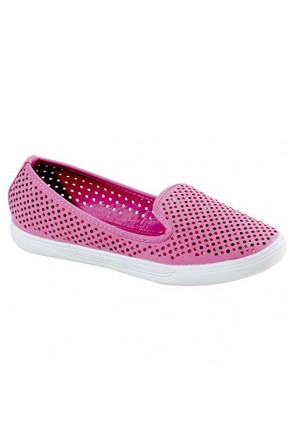 Women's Fuchsia Inkaa Manmade Flats with Jeweled Mesh Upper
