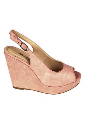 Women's Mauve Dalma 5-inch Wedge Peep-Toe Sandal
