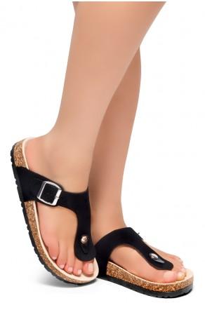 HerStyle SOFTEY-Open Toe Buckled Cork Slide Sandal(1896 BlackNU)