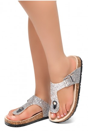 HerStyle Abella-Stud and Buckle Accent Flip Flops (Pewter Glitter)