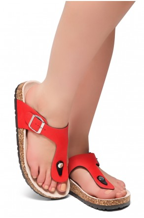 HerStyle Abella-Stud and Buckle Accent Flip Flops (Red)