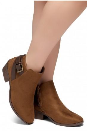 Shoe Land Adrerinia- Low Stacked Heel Almond Toe Booties (Cognac/Brown)
