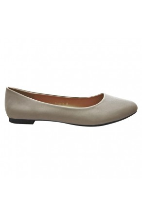 Women's Grey Alaynna Smooth Pump Flat with Gently Pointed Toe