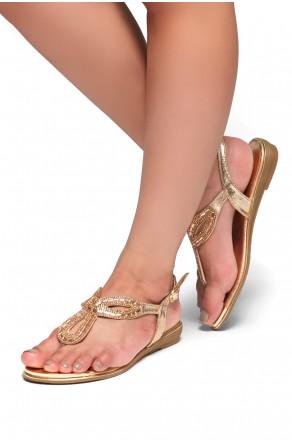 HerStyle Aleani-Rhinestone Thong Flat Sandal (Rose Gold)