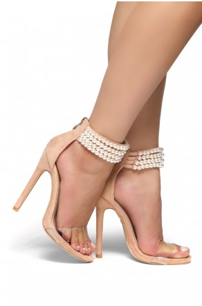 HerStyle Alegra Nude Pearl Perspex strap stiletto Heels (Clear Mauve)