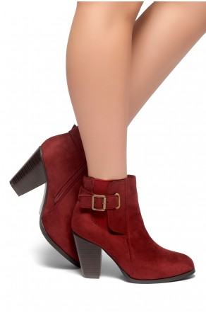 HerStyle ALENEMA -Almont toe, stacked heel Booties(Burgundy)