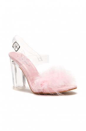 HerStyle Women's Manmade Allinnaa Fluffy Fur Lucite Chunky Perspex Hee  - Clear/ Pink