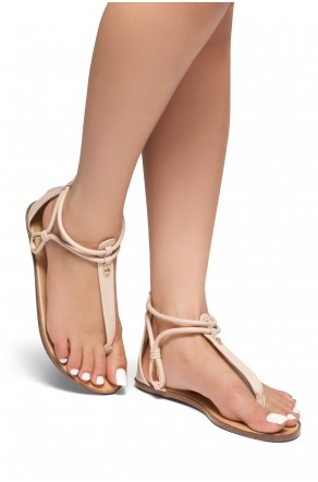 HerStyle Alta – Open Toe T-Strap Thong Sandals with Simple Metallic Stud, Back Closure (Nude)