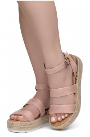 ShoeLand Alysa Womens Open Toe Ankle Strap Platform Wedge Sandals(2022Mauve)