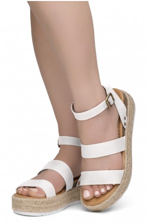 ShoeLand Alysa Womens Open Toe Ankle Strap Platform Wedge Sandals(2022OffWhite)