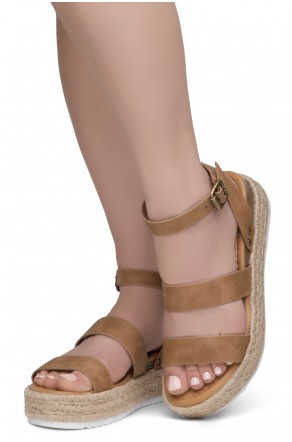 ShoeLand Alysa Womens Open Toe Ankle Strap Platform Wedge Sandals(2022Tan)