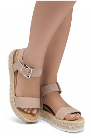 ShoeLand Alysa Womens Open Toe Ankle Strap Platform Wedge Sandals(Mauve)