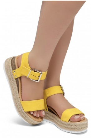 ShoeLand Alysa Womens Open Toe Ankle Strap Platform Wedge Sandals(Yellow)