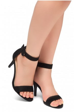 HerStyle Ambrosia-Stiletto Heel Ankle Strap Rounded Buckle Open Toe with Back Closure (Black)