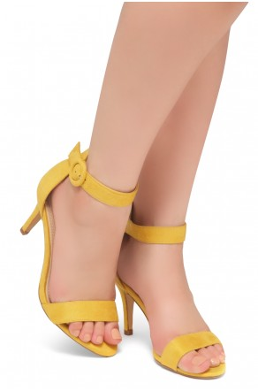 HerStyle Ambrosia-Stiletto Heel Ankle Strap Rounded Buckle Open Toe with Back Closure (Mustard)