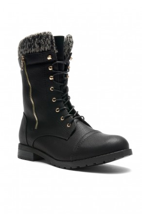 HerStyle Araviia Sweater Cuff Combat Lug Sole Boots
