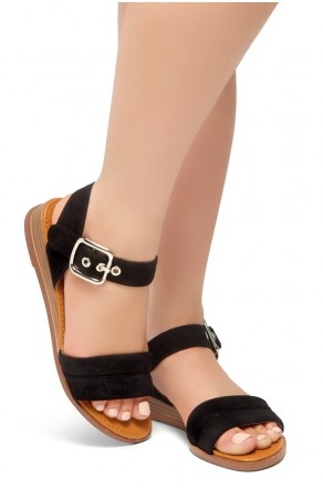 HerStyle Ariella- Simple-Band Vamp Wedge Sandals with Square Buckle (Black)