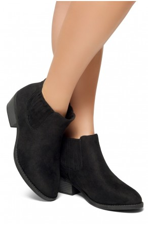 HerStyle Arlo- Low Stacked Heel Almond Toe Casual Ankle Booties (Black)