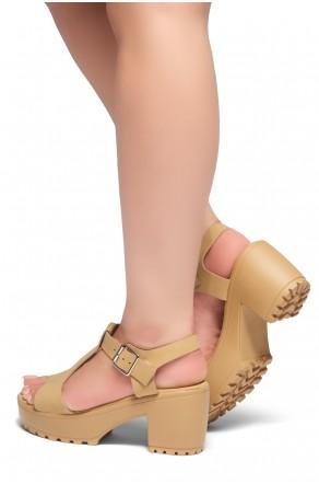 HerStyle Arran-Open Toe Ankle Strap Platform Block Heel (Tan)