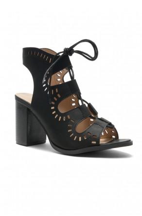 HerStyle Arrinn Geometric cutouts lace-up sandal (Black)