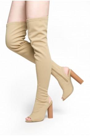 HerStyle Aryanna-Thigh high sock boots (Beige)