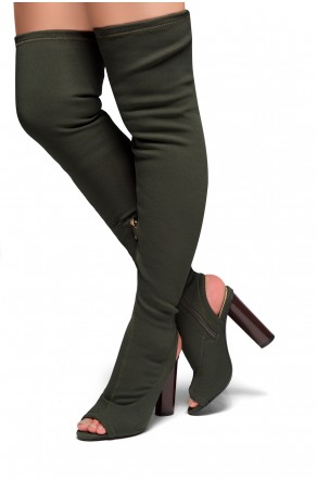 HerStyle Aryanna-Thigh high sock boots (Olive)