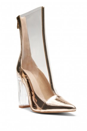 HerStyle Audrianna Clear Perspex Ankle Boot (Clear Rose Gold)