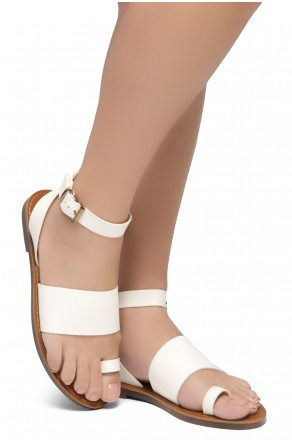 Shoe Land Bandi-Wide Vamp with Toe Ring Ankle Straps Sandals (White)