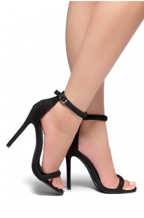 HerStyle Bashinna Ankle Rounded Strap, Open Toe, Stiletto Heel - Black