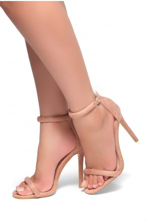 HerStyle Bashinna Ankle Rounded Strap, Open Toe, Stiletto Heel - Mauve